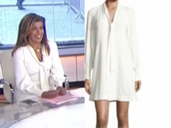 hoda kotb, the today show, white tie neck dress
