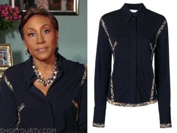 robin roberts, good morning america, snakeskin trim blouse
