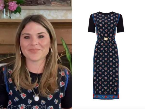 jenna bush hager, the today show, navy blue printed sweater dress