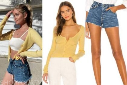 hannah godwin, the bachelor, yellow cardigan, jeans shorts