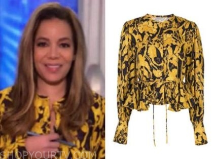 sunny hostin, yellow printed blouse, the view