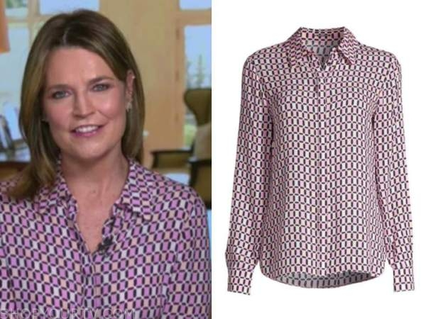 savannah guthrie, the today show, pink geometric blouse