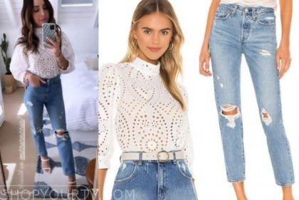 lilliana vazquez, E! news, white eyelet top, ripped jeans, white sandals