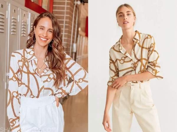 vanessa grimaldi, the bachelor, chain print blouse