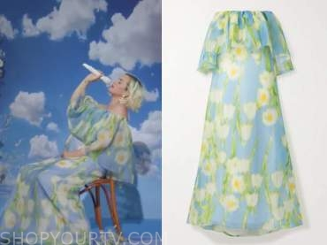 katy perry, good morning america, blue floral off-the-shoulder dress