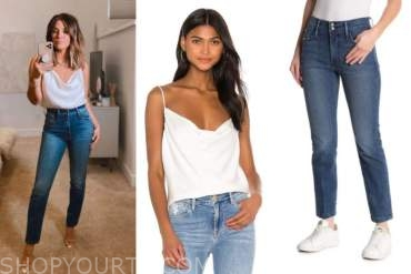 becca tilley, the bachelor, white cowl top, denim jeans