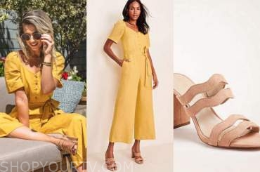 lesley murphy, the bachelor, yellow jumpsuit, tan sandals