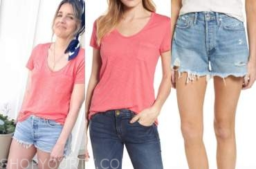 ali fedotwosky, the bachelorette, coral tee and denim shorts