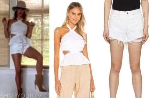 kristin cavallari, very cavallari, white halter top and white shorts