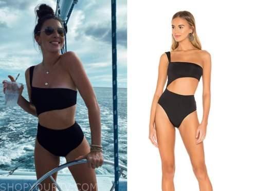 jen saviano, the bachelor, black one-shoulder cutout swimsuit