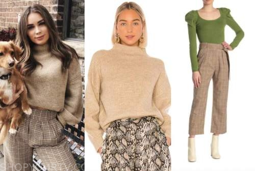 caitlin clemmens, the bachelor, beige sweater and plaid pants