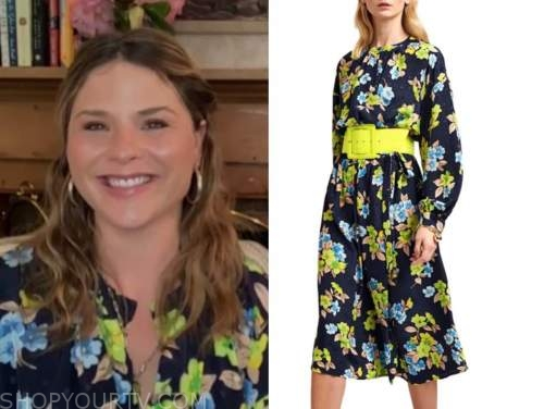 jenna bush hager, the today show, blue and green floral dress