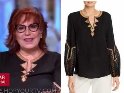 joy behar, the view, black and gold blouse