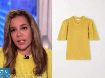 sunny hostin, the view, yellow short sleeve sweater