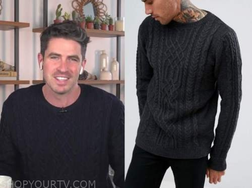 scott tweedie, E! news, daily pop, cable knit sweater