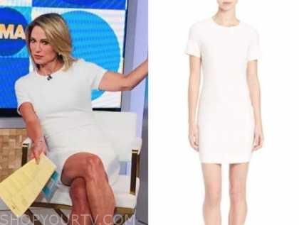 amy robach, white sheath dress, good morning america