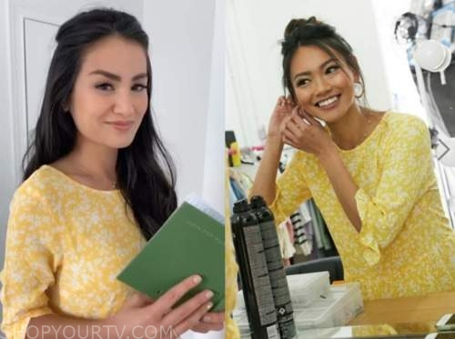 caila quinn, yellow floral dress, the bachelor