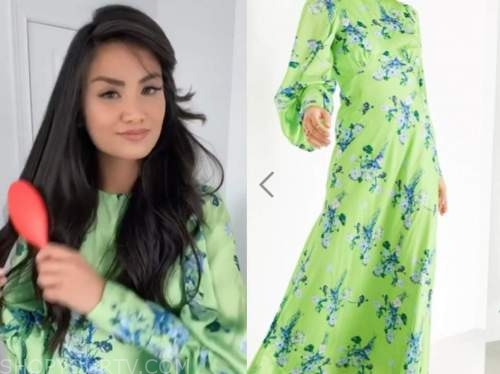 caila quinn, the bachelor, green satin floral maxi dress
