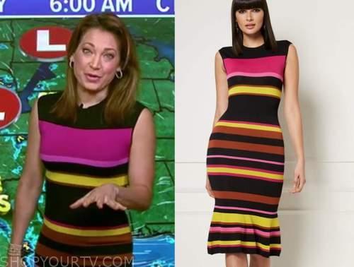 ginger zee, good morning america, striped knit dress