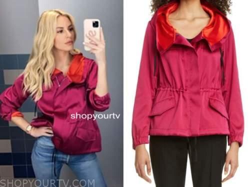 morgan stewart, E! news, daily pop, pink and orange jacket