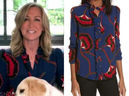 good morning america, lara spencer, navy blue and red printed blouse