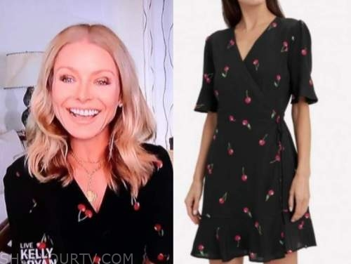 kelly ripa, live with kelly and ryan, black cherry print wrap dress