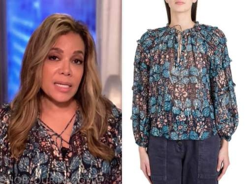 sunny hostin, the view, blue floral metallic blouse