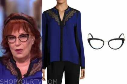 joy behar, the view, blue and black lace blouse, glasses