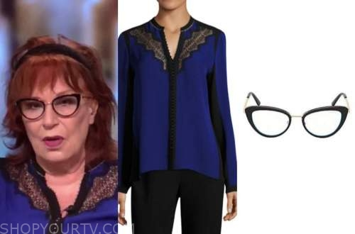 joy behar, the view, blue and black lace blouse, glasses
