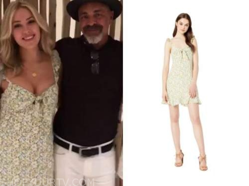 cassie randolph, the bachelor, green floral dress