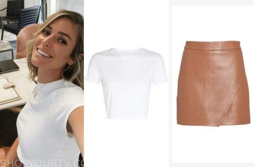 kristin cavallari, very cavallari, white tee, leather skirt