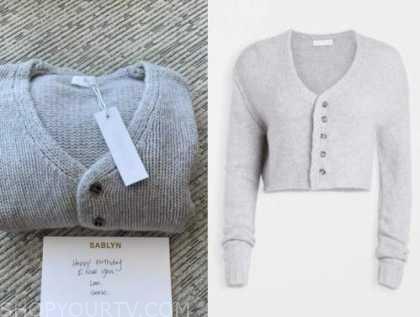 Morgan stewart, E! news, gray cardigan sweater