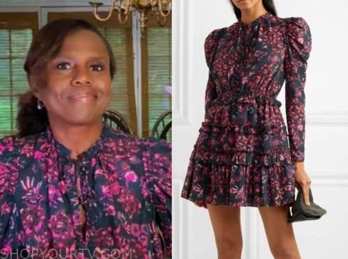 deborah roberts, good morning america, purple and pink floral dress