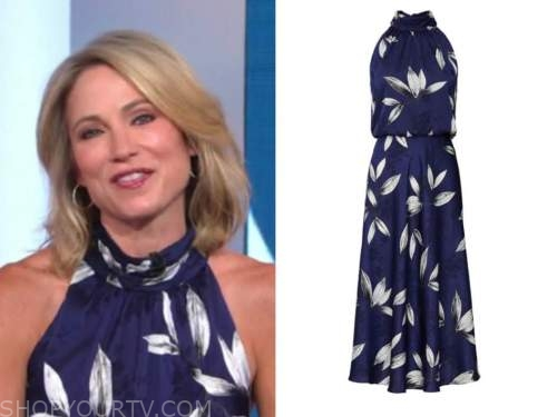 amy robach, good morning america, blue floral halter dress