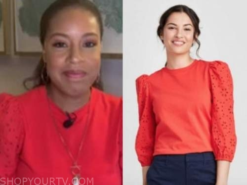 sheinelle jones, the today show, red eyelet sleeve sweater top
