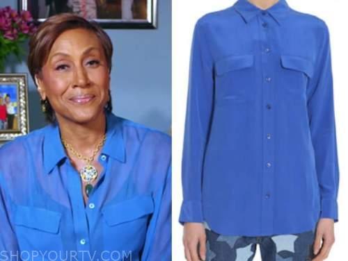good morning america, robin roberts, blue silk shirt
