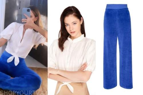 amanda stanton, the bachelor, blue sweatpants, white tie top