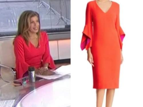 hoda kotb, the today show, red v-neck bell sleeve dress