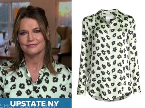 savannah guthrie, green and black floral blouse, the today show