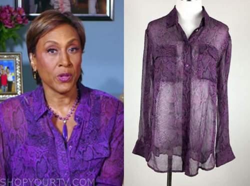 purple snakeskin shirt, good morning america, robin roberts