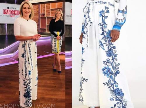 amy robach, good morning america, white and blue floral pants