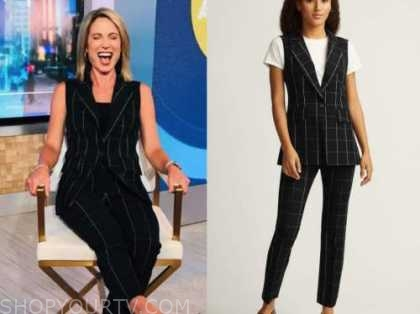 amy robach, black grid vest and pants, good morning america