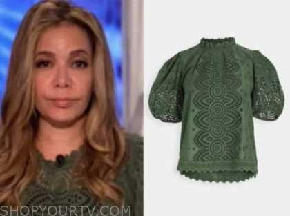 sunny hostin, the view, green eyelet top