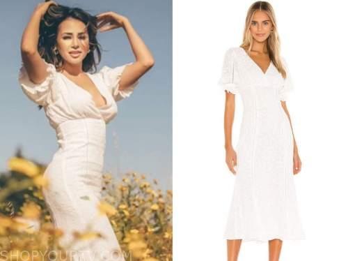 danielle lombard, the bachelor, white midi dress