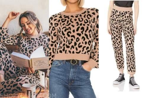 danielle lombard, the bachelor, leopard sweater, leopard sweatpants