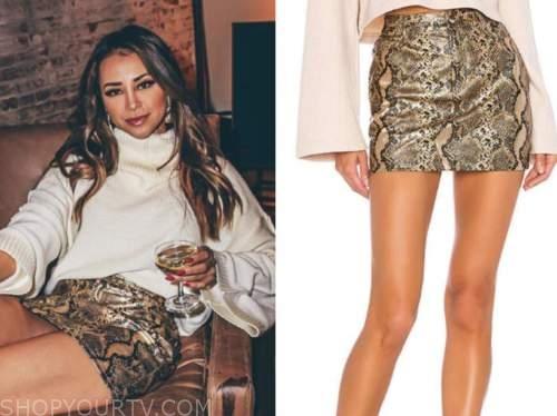 danielle lombard, the bachelor, snakeskin mini skirt