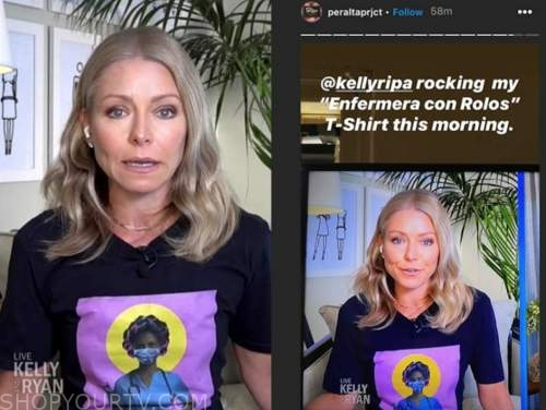 kelly ripa, live with kelly and ryan, nurse in rollers t-shirt