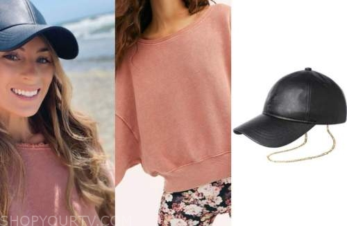 tenley molzahn, the bachelor, pink sweater, leather cap