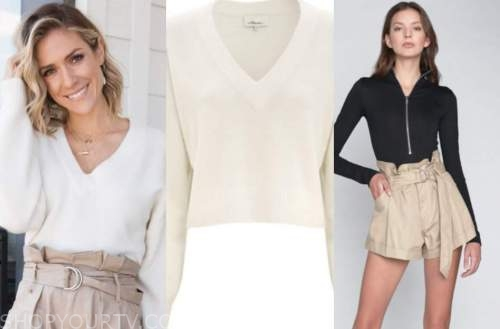 kristin cavallari, ivory sweater, beige shorts