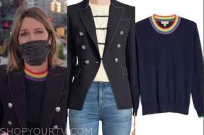 the today show, savannah guthrie, double breasted blazer, rainbow sweater